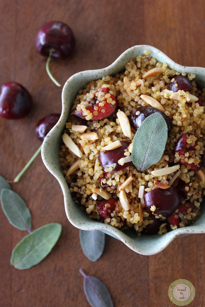 Cherry Sage Toasted Quinoa by Knead to Cook