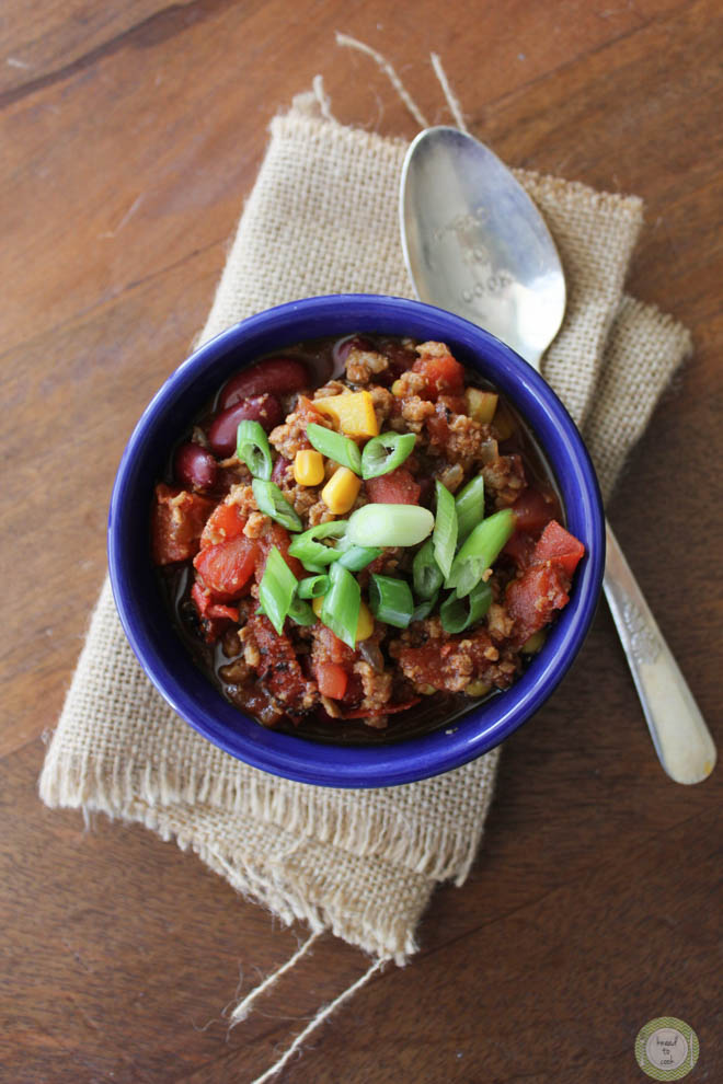 Vegan red bean chili by Knead to Cook.