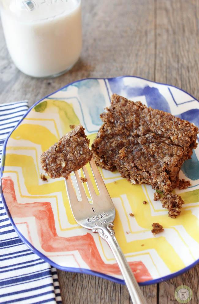 Oatmeal Cinnamon Cookie Bars.  Vegan.  Gluten Free.