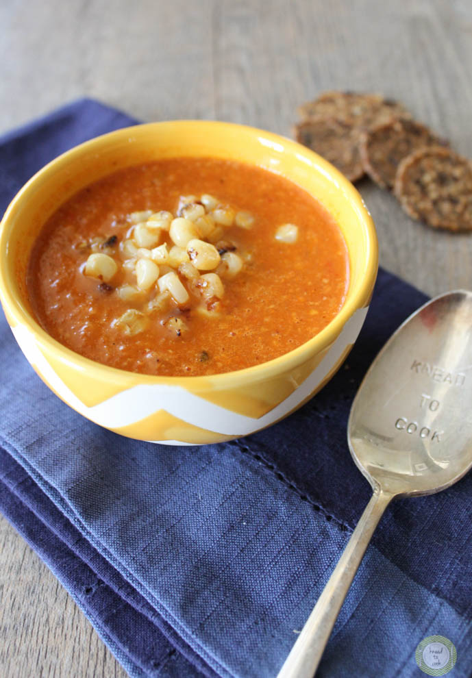 Roasted tomato and corn red pepper soup.
