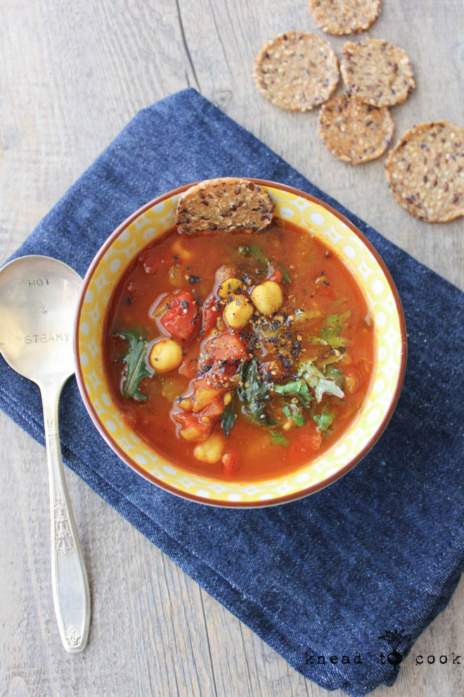 Spicy Lentil and Chickpea Veggie Soup.