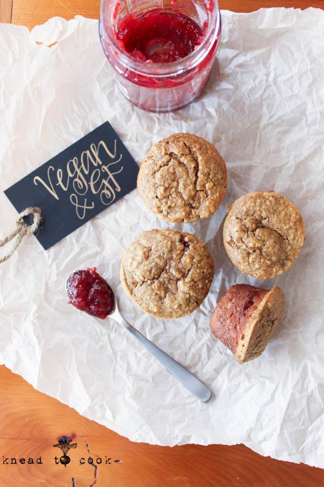 Easy PB Muffins.  Vegan.  GF.
