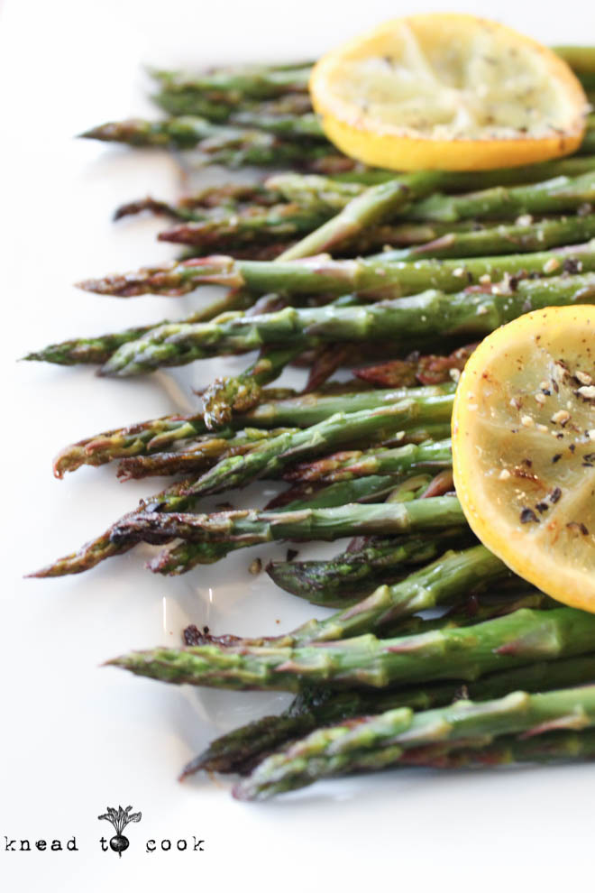 Lemon Roasted Asparagus.  Vegan.