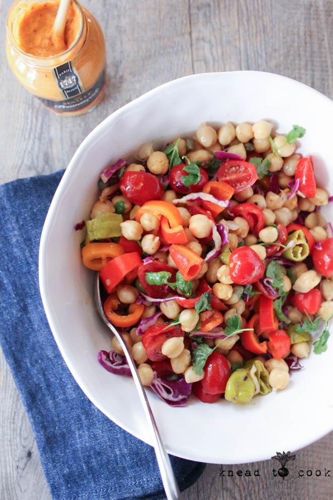 Spring chickpea salad with a  Dijon dressing.  Vegan. Gluten free.