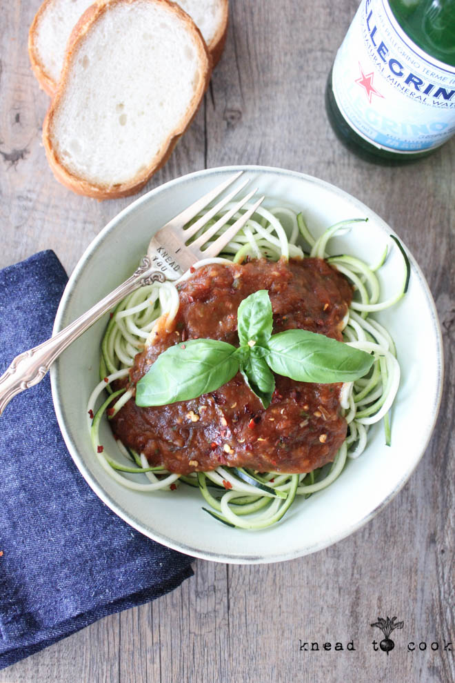 Roasted tomato balsamic sauce with spring onions.