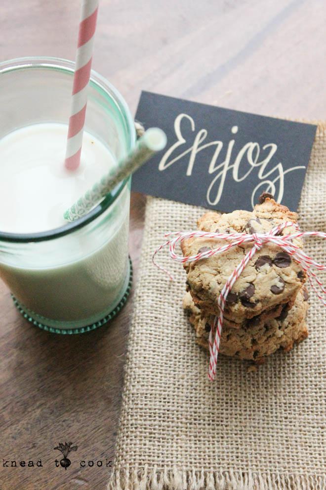Rustic Oat Chocolate Chip Cookies. GF. Vegan.