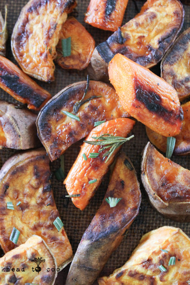 Rosemary Roasted Carrots and Sweet Potatoes. Vegan.  Gluten Free.
