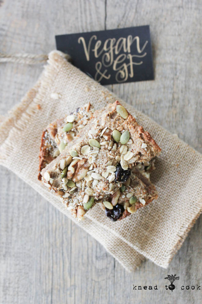 Breakfast Oatmeal Bars.  Vegan. Gluten Free.