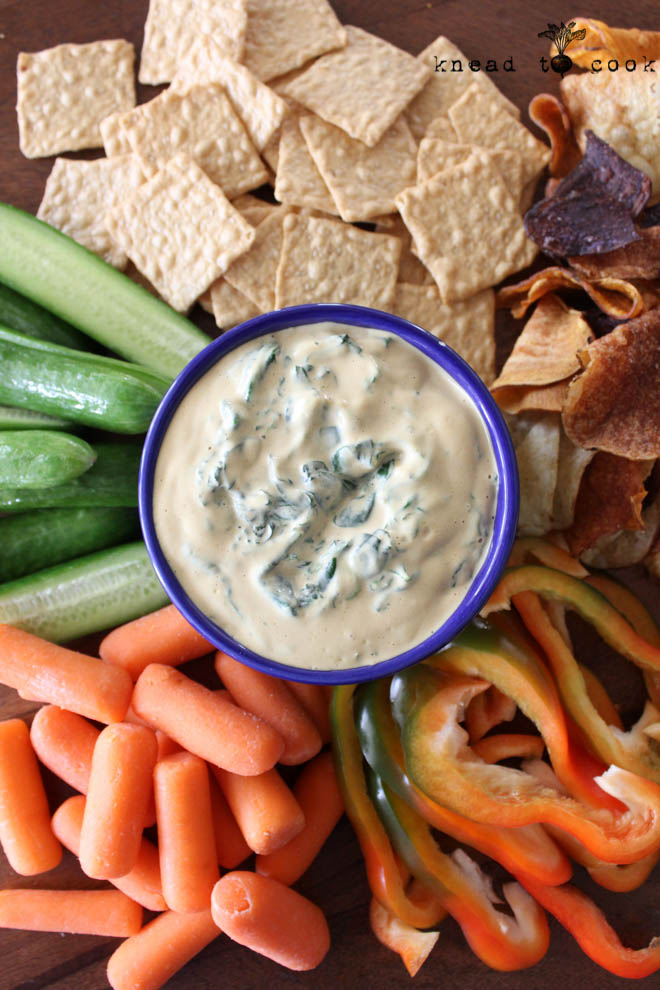 Cheesy Spinach Dip. Vegan. GF.
