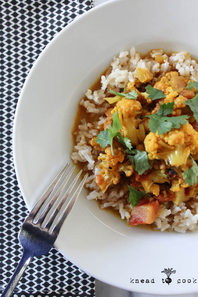 Indian Curry Coconut Cauliflower.  Vegan. GF.