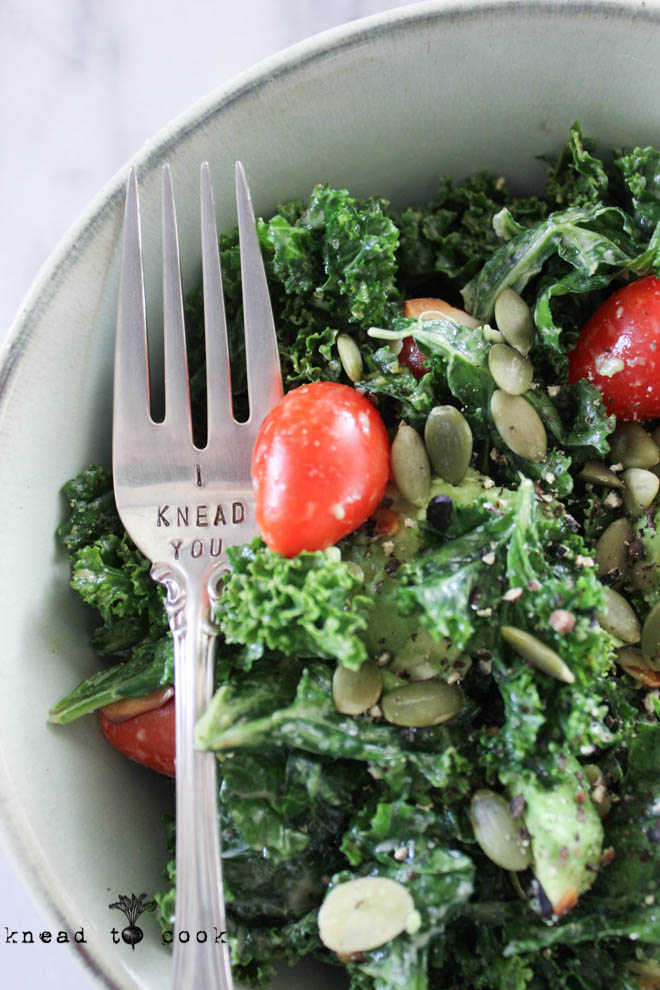 Tahini Dressing and Kale Salad. Vegan. GF.