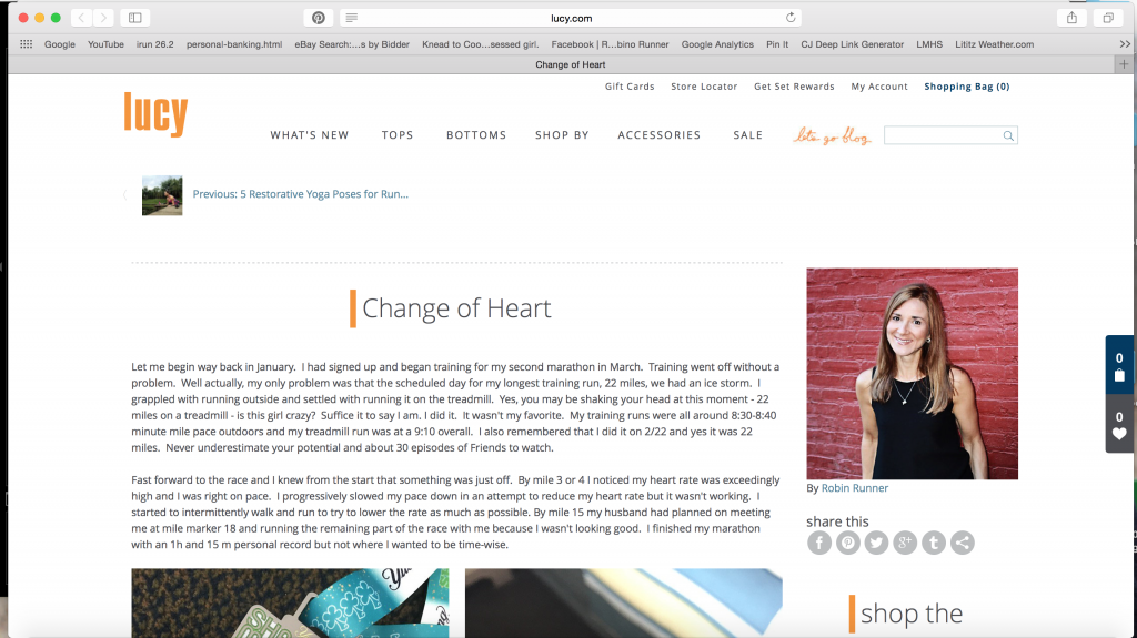 Running: Change of Heart. Lucy Blog Post.