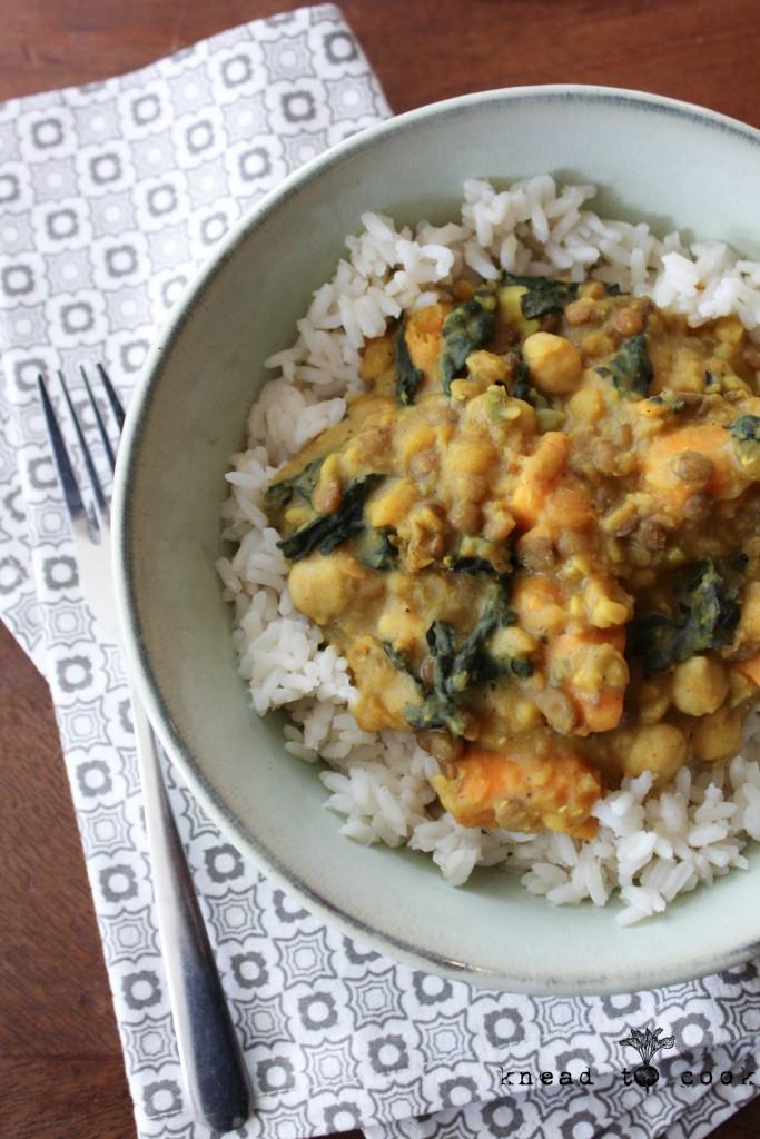 Sweet Potato and Kale Curry. Vegan. GF.