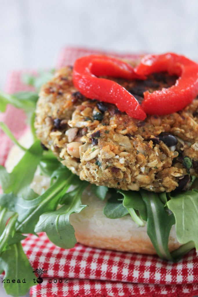 Black and White Bean Quinoa Burgers.